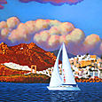Sailboat passing the Portara on Naxos